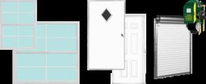 walk-in doors, roll-up doors, and windows
